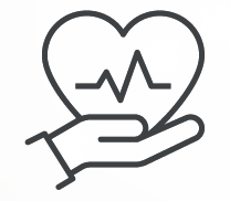 Icon of heart rate to represent cardiac diagnostic tests